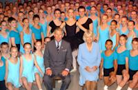 <p>The Duke and Duchess of Cornwall pose with students of Elmhurst Ballet School.</p>