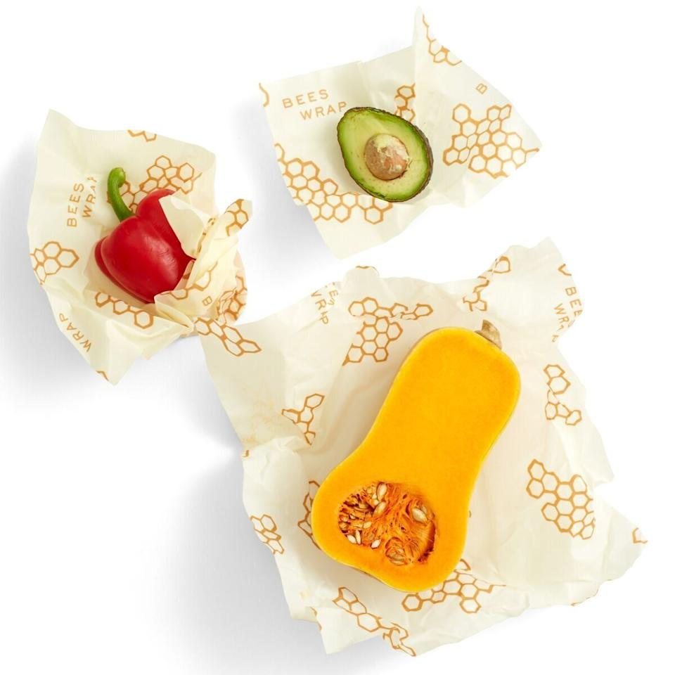 """These reusable food wraps are made of beeswax-covered cotton cloth and can be used to store cut veggies, cheeses, bread and more. Just wash them in cool water (not hot because it'll melt the wax!), let them dry, and they're read to reuse again the next day.<strong><a href=""""https://amzn.to/31qzJ1X"""" target=""""_blank"""" rel=""""noopener noreferrer"""">Find theseBee's Wrap Reusable Beeswax Food Wraps for $18 on Amazon</a></strong>."""