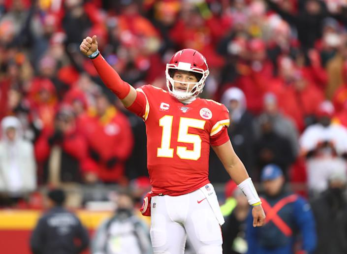 Patrick Mahomes celebrates during the Chiefs' divisional playoff win over the Texans.