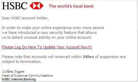 Many banking scams have obvious giveaways like a lack of personal greeting. (Information Security HeadQuarters)