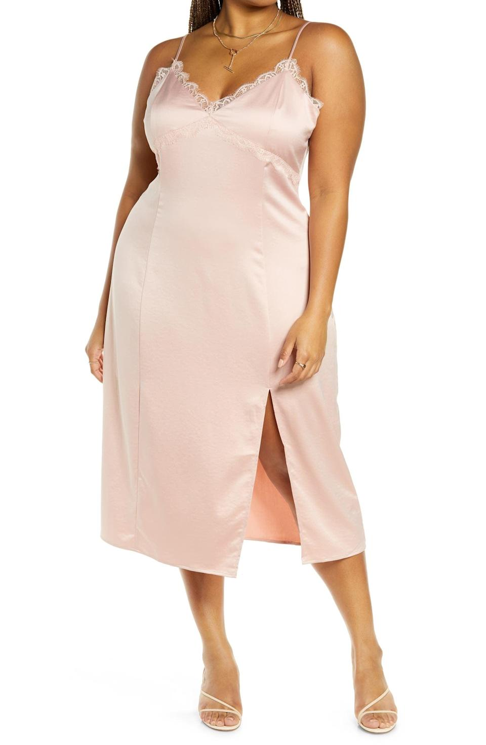 <p>We're obsessed with this sexy <span>Open Edit Satin Midi Slipdress</span> ($59).</p>