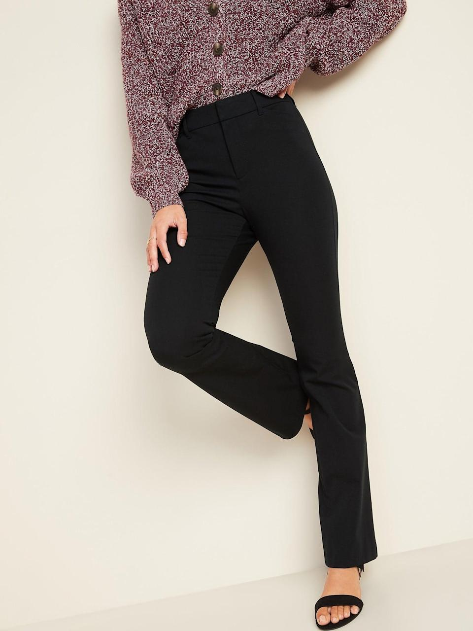 <p>You can't go wrong with these flattering <span>Old Navy All-New High-Waisted Pixie Full-Length Flare Pants</span> ($40).</p>