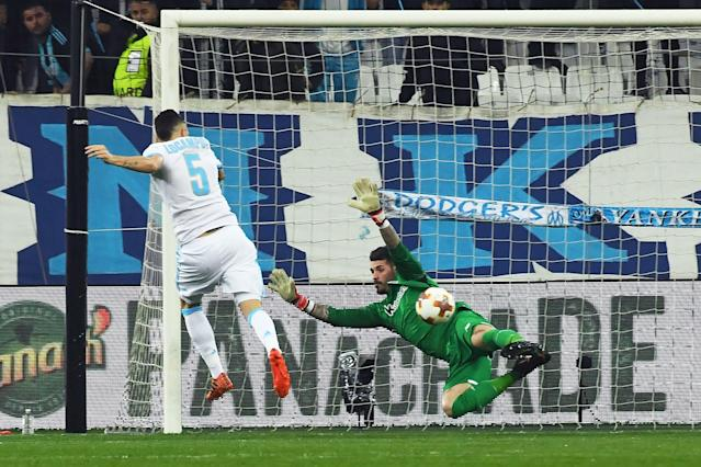 Lucas Ocampos opens the scoring for Marseille against Athletic Club with a deft finish.