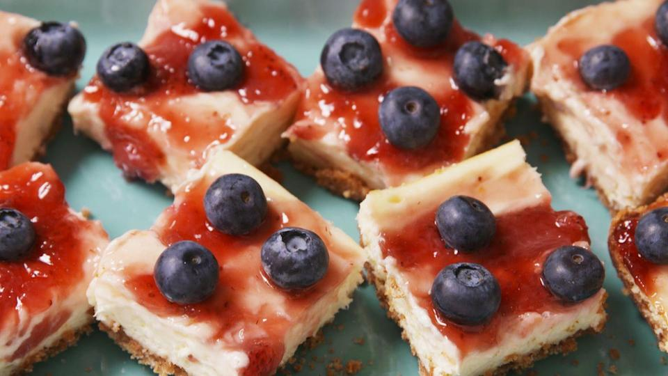 """<p>Treat yourself to a piece of creamy, fruity goodness.</p><p>Get the recipe from <a href=""""https://www.delish.com/cooking/recipe-ideas/recipes/a47633/very-berry-cheesecake-bars-recipe/"""" rel=""""nofollow noopener"""" target=""""_blank"""" data-ylk=""""slk:Delish"""" class=""""link rapid-noclick-resp"""">Delish</a>.</p>"""