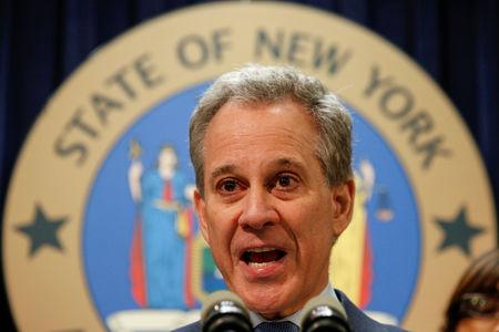 FILE PHOTO: New York Attorney General Eric Schneiderman speaks during a news conference to discuss the civil rights lawsuit filed against The Weinstein Companies and Harvey Weinstein in New York, U.S., February 12, 2018. REUTERS/Brendan McDermid/File Photo