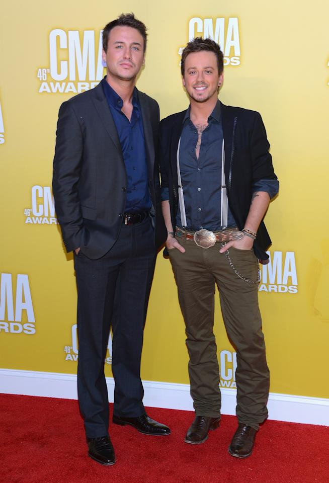 NASHVILLE, TN - NOVEMBER 01:  (L-R) Eric Gunderson and Stephen Barker Liles of Love and Theft attend the 46th annual CMA Awards at the Bridgestone Arena on November 1, 2012 in Nashville, Tennessee.  (Photo by Jason Kempin/Getty Images)