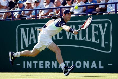 Tennis - WTA Premier & ATP 250 - Nature Valley International - Devonshire Park, Eastbourne, Britain - June 25, 2018 Britain's Andy Murray in action during his first round match against Switzerland's Stan Wawrinka Action Images via Reuters/Paul Childs