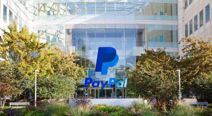 PayPal (PYPL) logo overlays daylight photo of corporate building