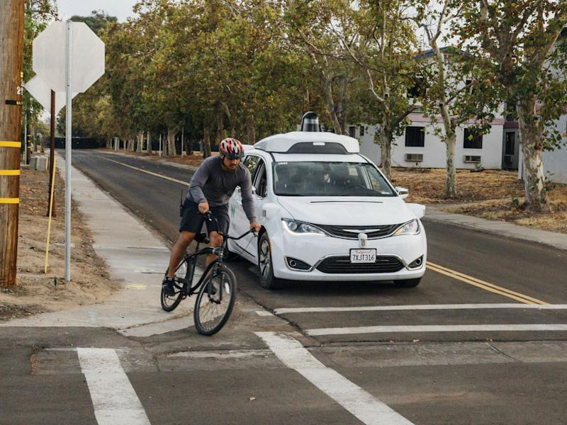 A minivan equipped with Waymo's self-driving car technology is tested at Waymo's facility in Atwater, Calif on Sunday, Oct. 29, 2017: Julia Wang/Waymo via AP