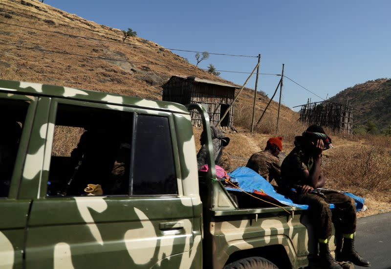 FILE PHOTO: Members of Ethiopian National Defense Force head to mission, in Sanja
