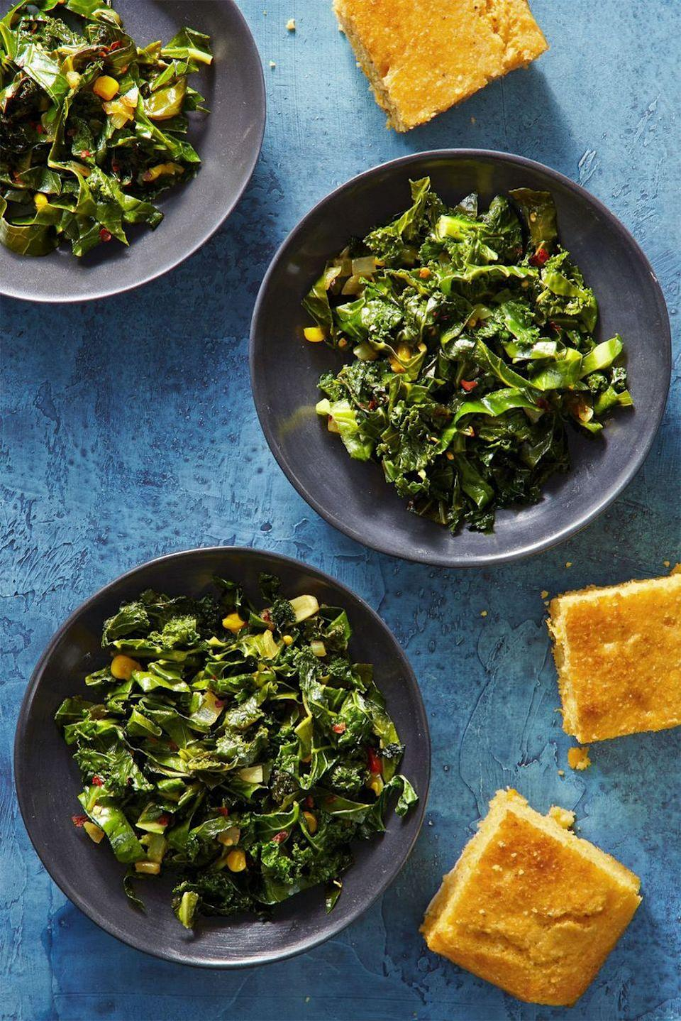 """<p>You don't have to live below the Mason-Dixon line to make these spicy sautéed collard greens and kale as an easy vegan Thanksgiving recipe.<br></p><p><em><a href=""""https://www.goodhousekeeping.com/food-recipes/a44233/spicy-southern-greens-recipe/"""" rel=""""nofollow noopener"""" target=""""_blank"""" data-ylk=""""slk:Get the recipe for Spicy Southern Greens »"""" class=""""link rapid-noclick-resp"""">Get the recipe for Spicy Southern Greens »</a></em></p>"""