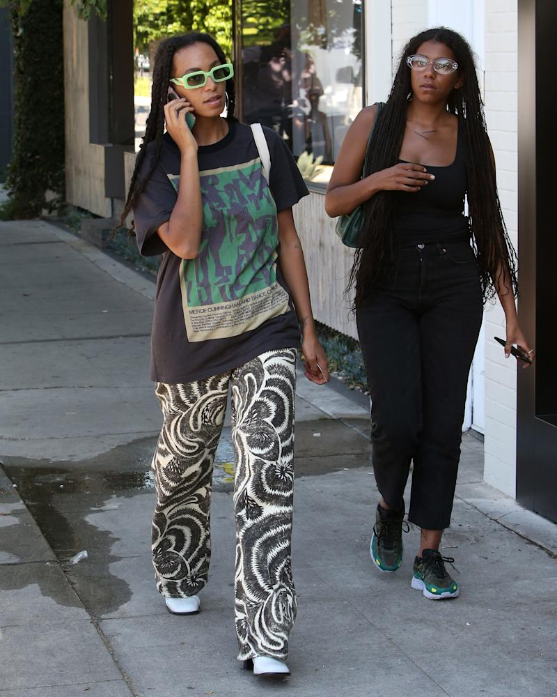 Solange's glasses are Matrix-tiny, but this is a #BigFitoftheDay.