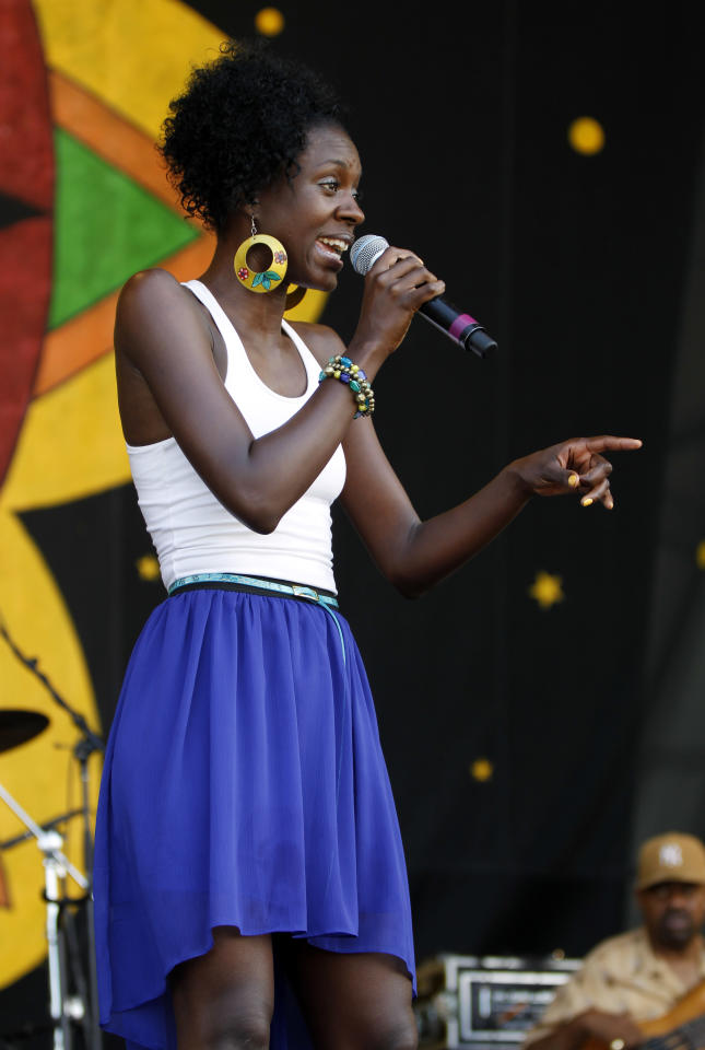 Nayo Jones performs at the New Orleans Jazz and Heritage Festival in New Orleans, Friday, May 4, 2012. (AP Photo/Gerald Herbert)
