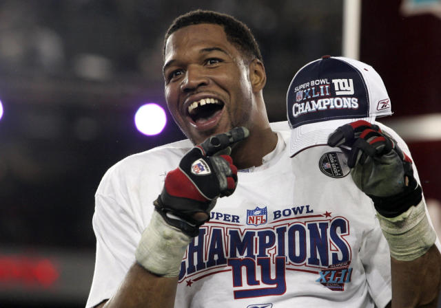 New York Giants defensive end Michael Strahan celebrates after his team's win over the Patriots in the Super Bowl XLII game on Feb. 3, 2008. (Reuters Photographer / Reuters)