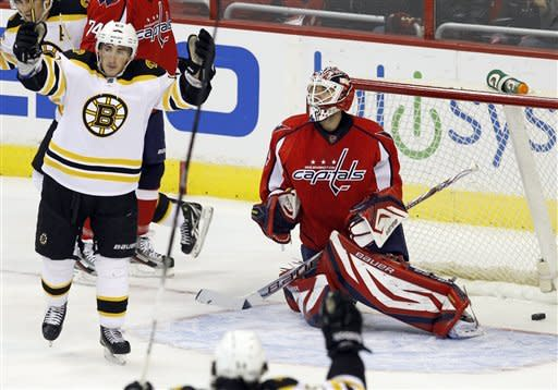 Boston Bruins left wing Brad Marchand, left, celebrates after scoring on Washington Capitals goalie Tomas Vokoun, right, of the Czech Republic, during the first period of an NHL hockey game in Washington, Sunday, Feb. 5, 2012. (AP Photo/Ann Heisenfelt)