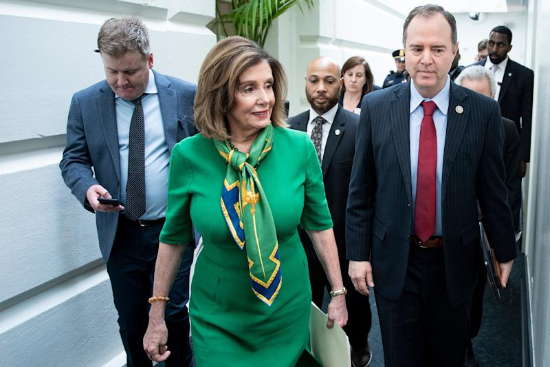 Speaker of the House Nancy Pelosi (D-CA) and House Intelligence Committee Chairman Rep. Adam Schiff (D-CA) leave after a caucus meeting with House Democrats on Capitol Hill January 14, 2020, in Washington, DC. (Photo: Brendan Smialowski AFP via Getty Images)