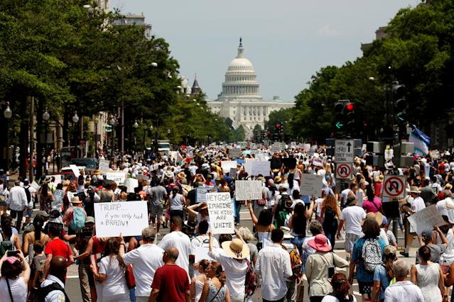 <p>Immigration activists march toward the U.S. Capitol to protest the Trump Administration's immigration policy in Washington, D.C., June 30, 2018. (Photo: Joshua Roberts/Reuters) </p>