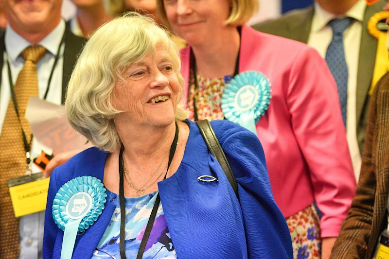 Brexit Party candidate Anne Widdecombe celebrates victory in the European elections (Picture: PA)
