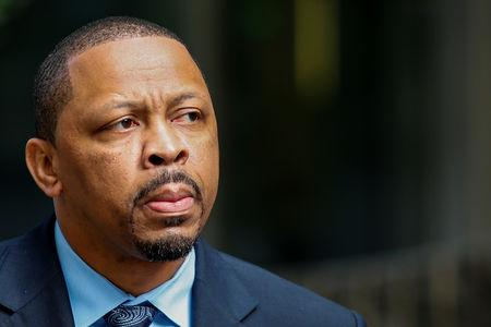 FILE PHOTO: Lamont Evans, former associate head basketball coach for OSU, exits the Manhattan Federal Courthouse in New York