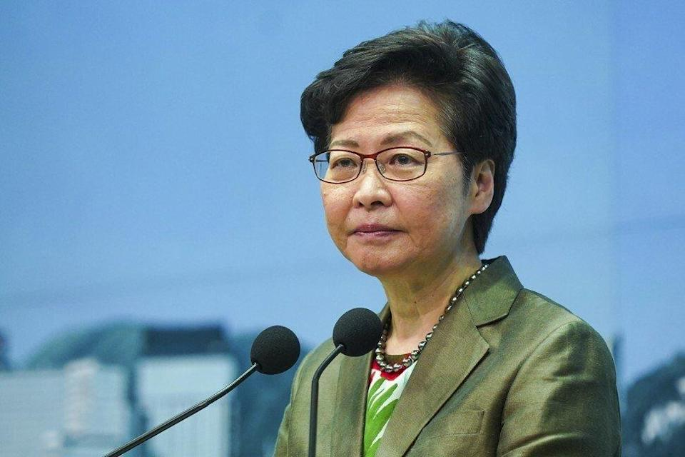 Chief Executive Carrie Lam addresses the press before her weekly cabinet meeting on Tuesday. Photo: Sam Tsang