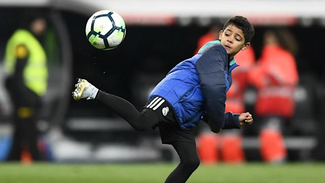 The Portugal star's son, Cristiano Jnr, was in fine form as he netted four times on his debut for the Bianconeri's Under-9s