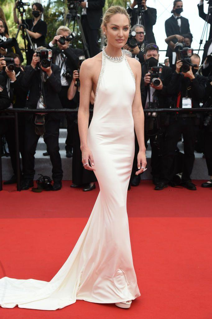 <p>The supermodel wore a backless Etro gown to the 'Tout S'est Bien Passe (Everything Went Fine)' screening.</p>