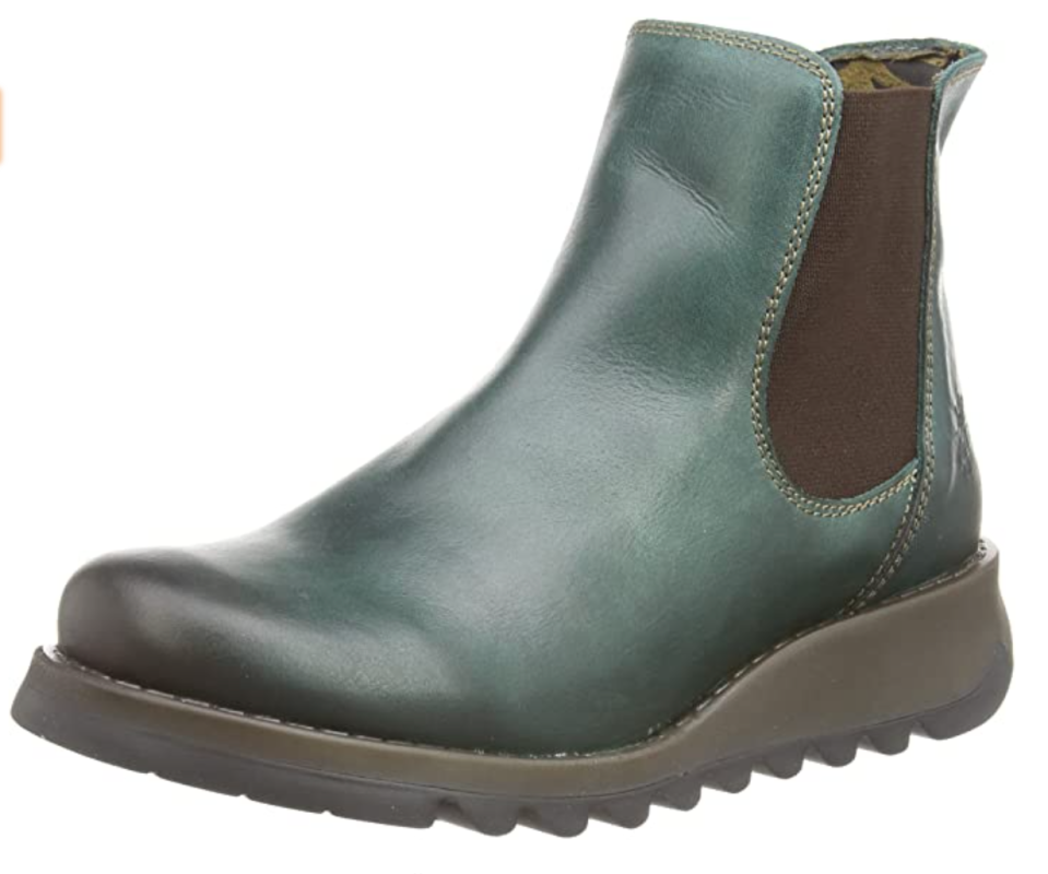 Fly London Salv Ankle Bootie in Petrol (Photo via Amazon)
