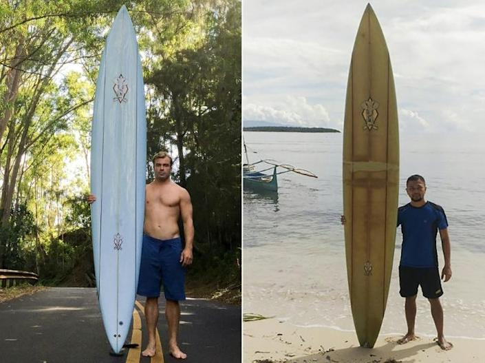 When Doug Falter (L) lost his board in a wipeout in Hawaii two years ago, he never imagined it would be found in the remote island of Sarangani in the southern Philippines, where it is now owned by local primary school teacher Giovanne Branzuela (R)