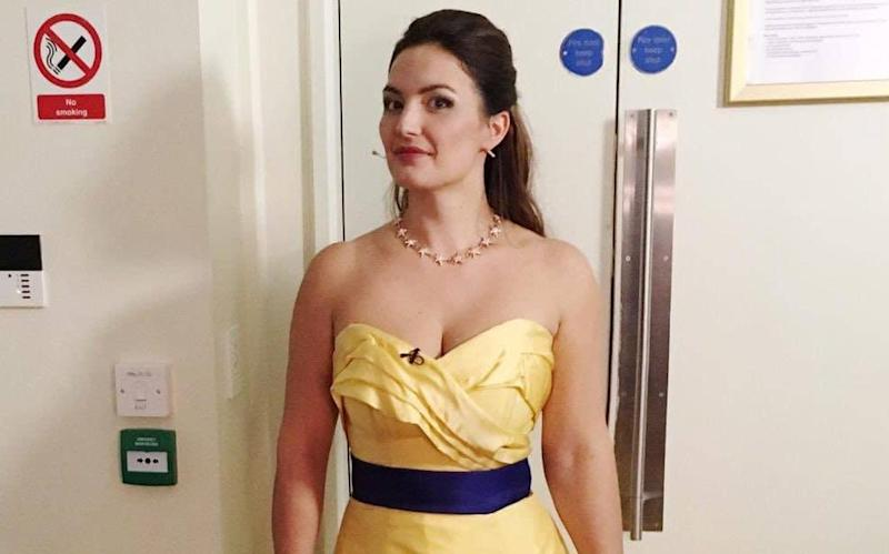 Anna Patalong, who added an EU flag as a belt during a weekend performance at the Royal Albert Hall - Twitter