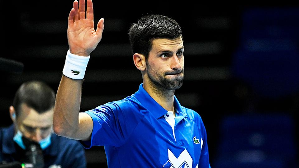 Novak Djokovic (pictured) waves to the crowd after winning a match in the ATP Finals.