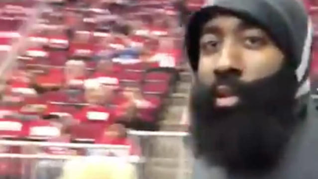 James Harden is about to smack your phone, dude. (Facebook)