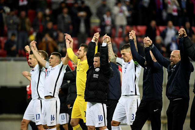 Soccer Football - 2018 World Cup Qualifications – Europe – Slovakia vs Malta - Stadion Antona Malatinskeho, Trnava, Slovakia - October 8, 2017 Slovakia players celebrate after the match REUTERS/Radovan Stoklasa