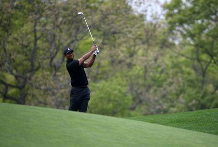May 17, 2019; Bethpage, NY, USA; Tiger Woods on the sixth hole during the second round of the PGA Championship golf tournament at Bethpage State Park - Black Course. Mandatory Credit: Peter Casey-USA TODAY Sports