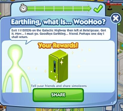 sims social earthling what is reward