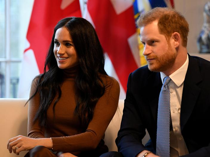 FILE PHOTO: Britain's Prince Harry and his wife Meghan, Duchess of Sussex visit Canada House in London, Britain  January 7, 2020. Daniel Leal-Olivas/Pool via REUTERS