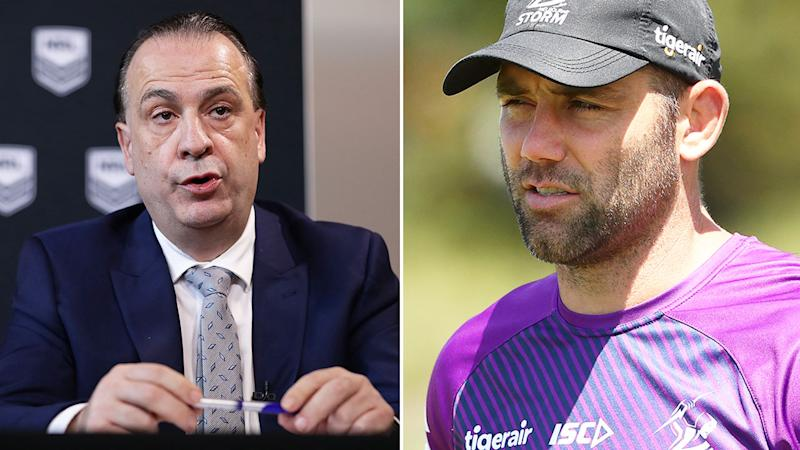 Seen here, ARLC chairman Peter V'landys and Melbourne Storm skipper Cameron Smith.