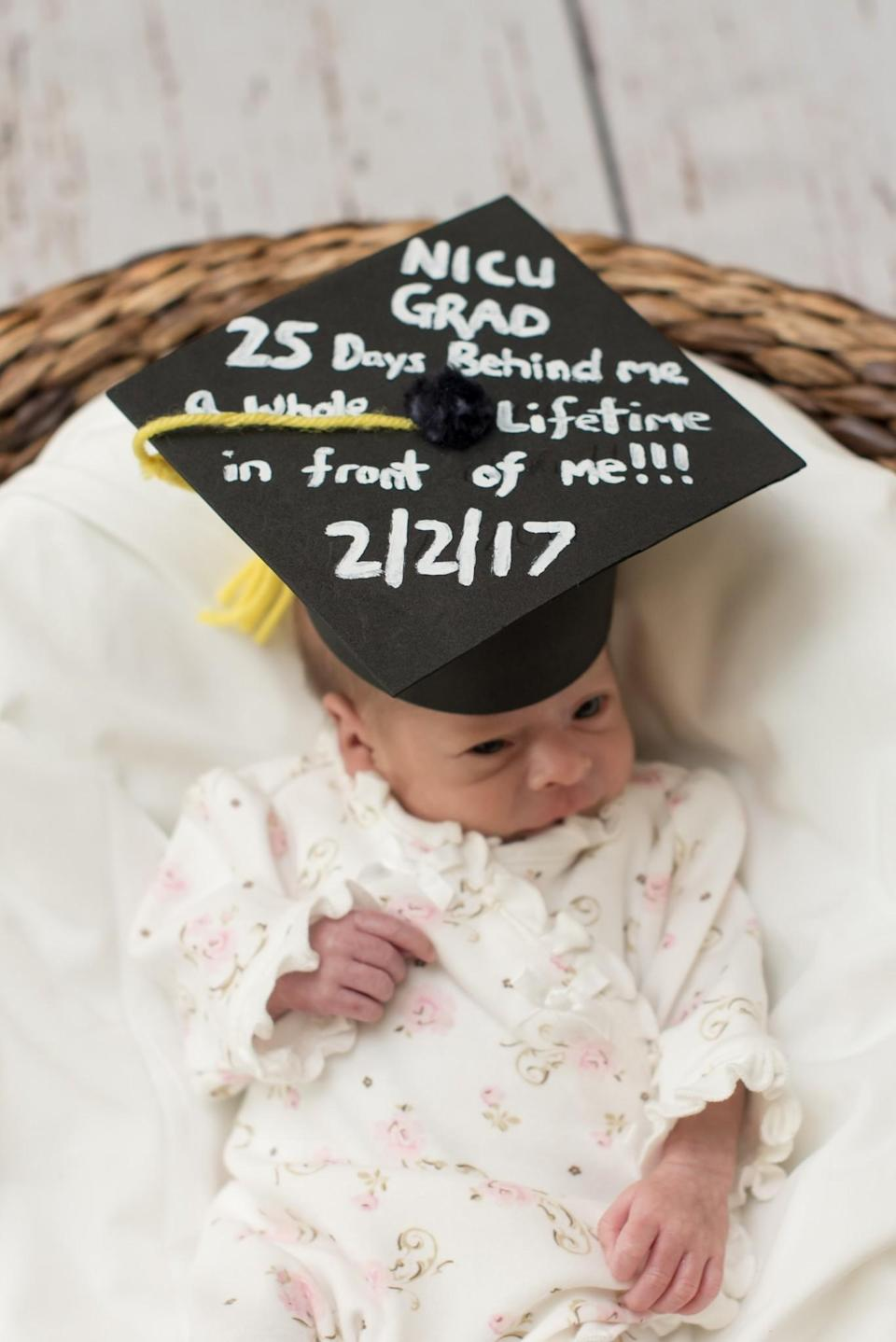 "<p>""NICU GRAD, 25 Days Behind Me, A Whole Lifetime In Front Of Me!! 2/2/17"" <em>(Photo via: <a rel=""nofollow noopener"" href=""https://www.bellababyphotography.com/"" target=""_blank"" data-ylk=""slk:Bella Baby Photography"" class=""link rapid-noclick-resp"">Bella Baby Photography</a>)</em> </p>"