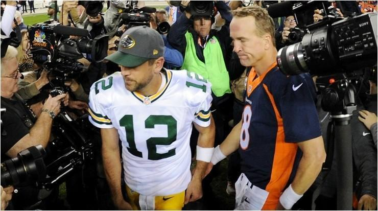 Aaron Rodgers y Peyton Manning (Foto: Getty)