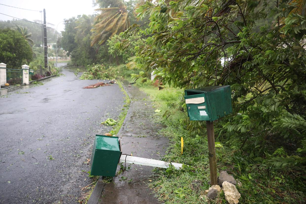 A mail box lies on the ground after Hurricane Maria passed through Guadeloupe on Sept. 19, 2017.