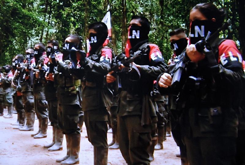 """A video grab from the website of the National Liberation Front (ELN) """"Portal Voces de Colombia"""" on January 7, 2015, shows members of the second largest leftist guerrilla group at an undisclosed location in Colombia"""