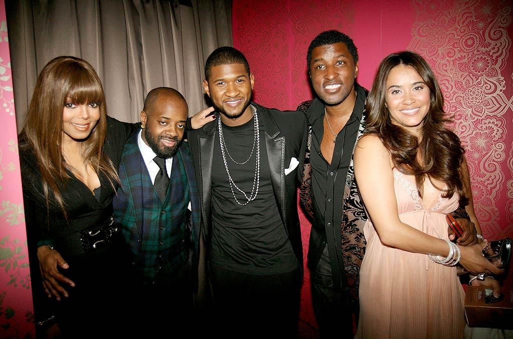 "Janet Jackson, Jermaine Dupri, Usher, and Kenneth ""Babyface"" Edmonds hung out at EW party. Johnny Nunez/<a href=""http://www.wireimage.com"" target=""new"">WireImage.com</a> - February 10, 2008"