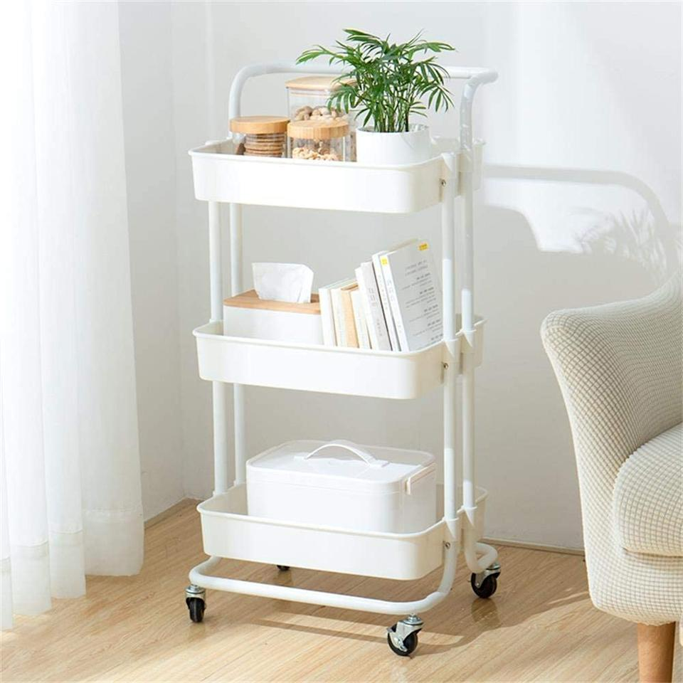 """<h2><a href=""""https://www.amazon.com/dp/B07QSSKTD5"""" rel=""""nofollow noopener"""" target=""""_blank"""" data-ylk=""""slk:micoe Rolling Cart"""" class=""""link rapid-noclick-resp"""">micoe Rolling Cart</a></h2><br>This minimalist cart is built to serve the smallest of spaces with three tiers of compact storage.<br><br><strong>micoe</strong> micoe Rolling Cart, $, available at <a href=""""https://www.amazon.com/dp/B07QSSKTD5"""" rel=""""nofollow noopener"""" target=""""_blank"""" data-ylk=""""slk:Amazon"""" class=""""link rapid-noclick-resp"""">Amazon</a>"""