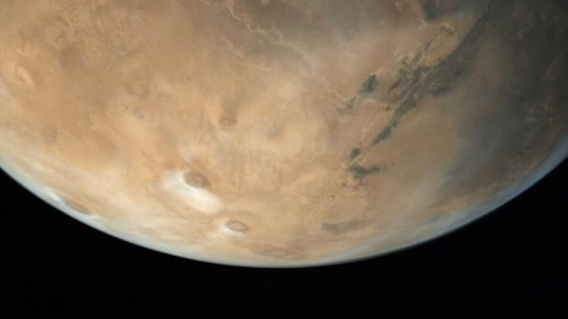 Partial disc of Mars captured by Mangalyaan-1's onboard camera. Image courtesy: ISRO