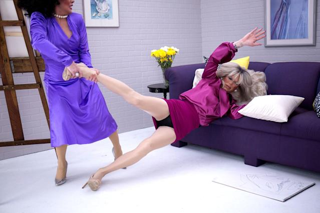 "<em>RuPaul's Drag Race</em> finalists Phi Phi O'Hara and Sharon Needles reenact the Alexis/Krystle Carrington <em>Dynasty</em> catfight scene in Sharon's ""Battle Axe"" video (Photo: Christopher Logan)"