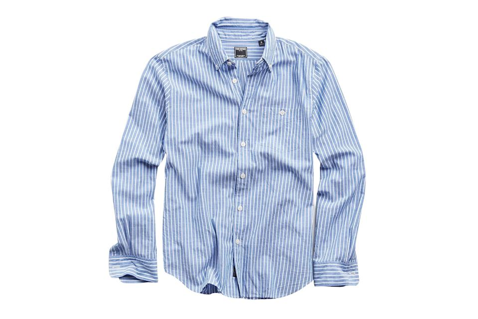 "$168, Todd Snyder. <a href=""https://www.toddsnyder.com/collections/sale/products/button-down-collar-blue-with-white-stripe-long-sle-blue"" rel=""nofollow noopener"" target=""_blank"" data-ylk=""slk:Get it now!"" class=""link rapid-noclick-resp"">Get it now!</a>"