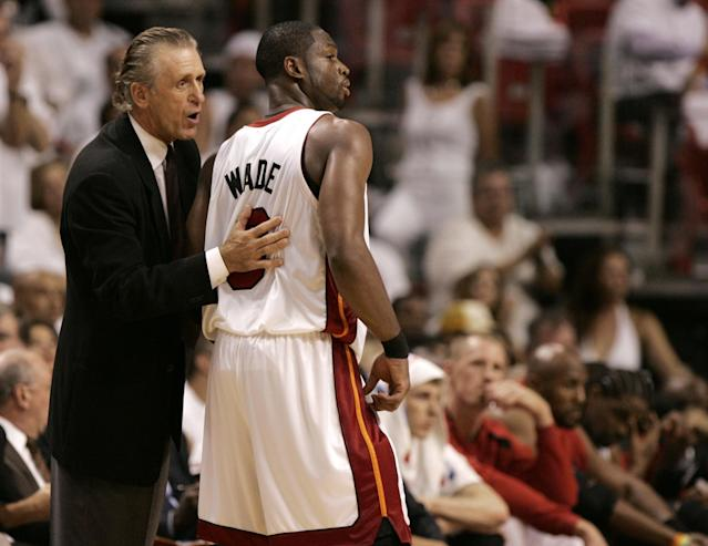"""After 13 years together, Pat Riley and <a class=""""link rapid-noclick-resp"""" href=""""/nba/players/3708/"""" data-ylk=""""slk:Dwyane Wade"""">Dwyane Wade</a> will go their separate ways. (AP/Lynne Sladky)"""