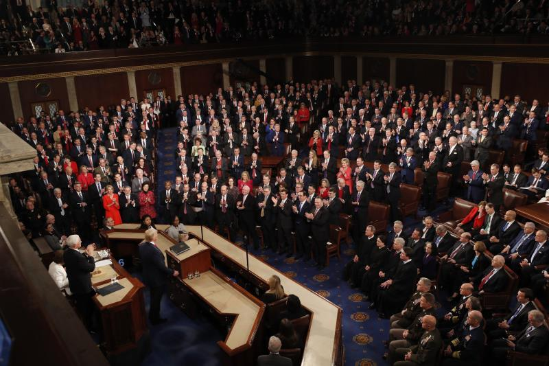 US President Donald J. Trump delivers his State of the Union address during a joint session of congress in the House chamber of the US Capitol in Washington, DC, USA. EFE/EPA/JUSTIN LANE