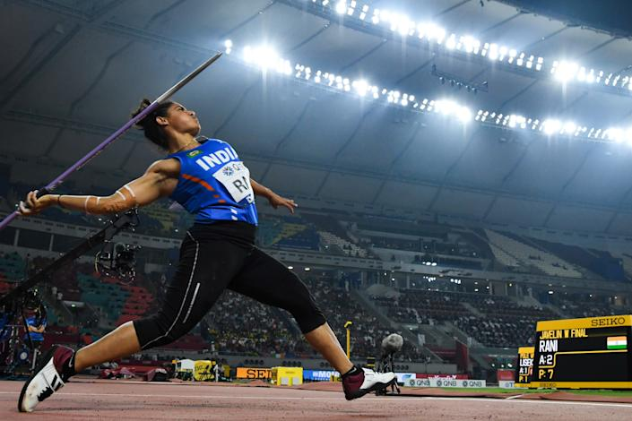 India's Annu Rani competes in the Women's Javelin Throw final at the 2019 IAAF Athletics World Championships at the Khalifa International stadium in Doha on October 1, 2019. (Photo by KIRILL KUDRYAVTSEV/AFP/Getty Images)