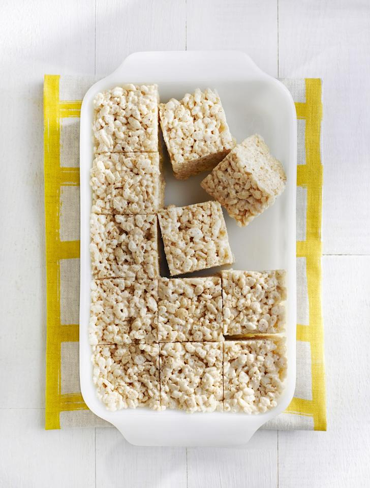"<p>Add more flavor to crispy rice cereal with butter, salt, and marshmallows. Make them on a lazy Sunday afternoon and the kids will have snacks for the rest of the week.</p><p><em><a href=""https://www.womansday.com/food-recipes/food-drinks/recipes/a40388/brown-butter-crispy-treats-recipe-clx0315/"" target=""_blank"">Get the recipe for Brown Butter Crispy Treats.</a></em></p>"
