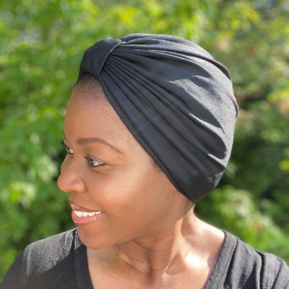 """Perfectfor protecting your tresses. Satin can help protect your hair and retain moisture while you sleep, all while keeping you cool.Kosa Wrap Shop is a Canada-based Etsy shop specializing in handmade satin-lined turbans, bonnets, headbands and more.<br /><br /><strong><a href=""""https://go.skimresources.com?id=38395X987171&xs=1&xcust=HPProductsForHotSleepers-7-2021--60c0db4be4b0b449dc34948b-&url=https%3A%2F%2Fwww.etsy.com%2Flisting%2F826692955%2Fkosa-satin-sleep-cap-stretch-satin-adult"""" target=""""_blank"""" rel=""""noopener noreferrer"""">Get it from Kosa Wrap Shop on Etsy for $27.62+(available in a variety of sizes).</a></strong>"""
